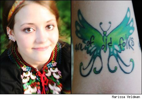 friendship tattoos for guy and girl. The Tattoo: A green butterfly