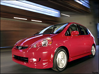 red Honda Fit