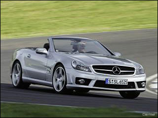 silver Mercedes SL 65 2008 sports car