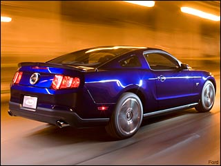 blue Ford Mustang coupe