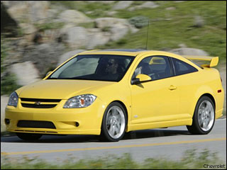 yellow Chevy Cobalt coupe