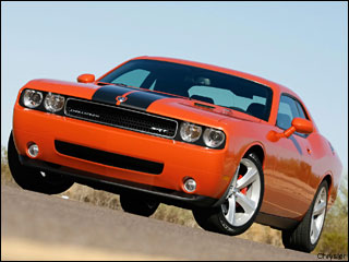 orange Dodge Challenger coupe