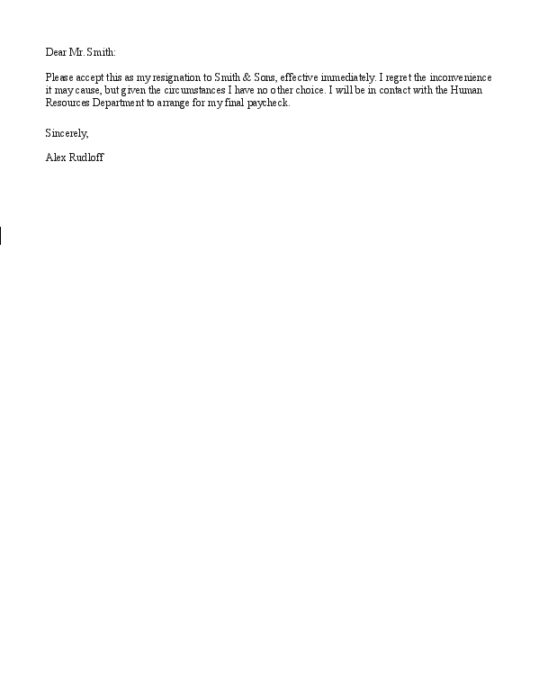 Basic resignation letter template expocarfo Image collections