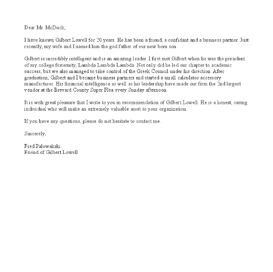formal letter writing template. Reference letter sample