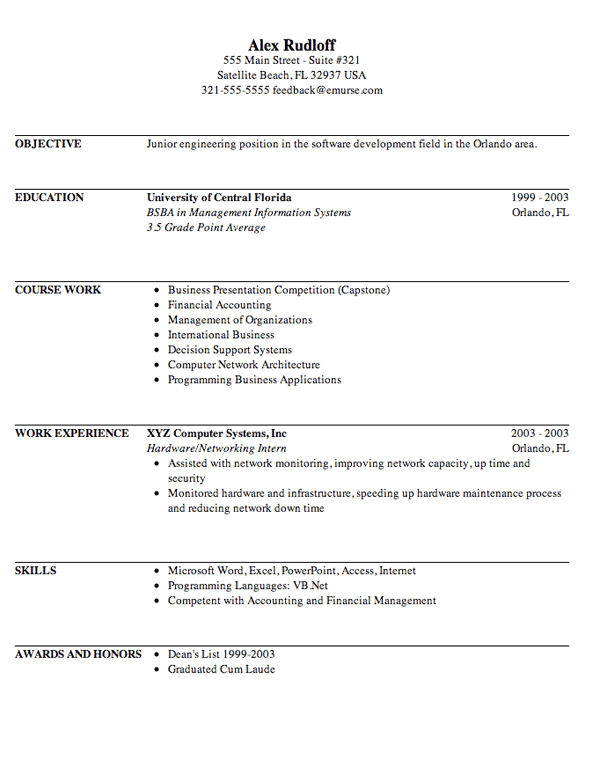 Sample resume for film internship