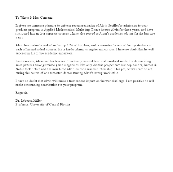 template recommendation letter for graduate school