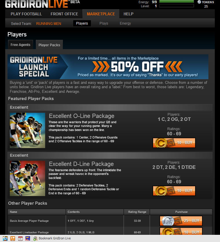 GridIron Live Marketplace