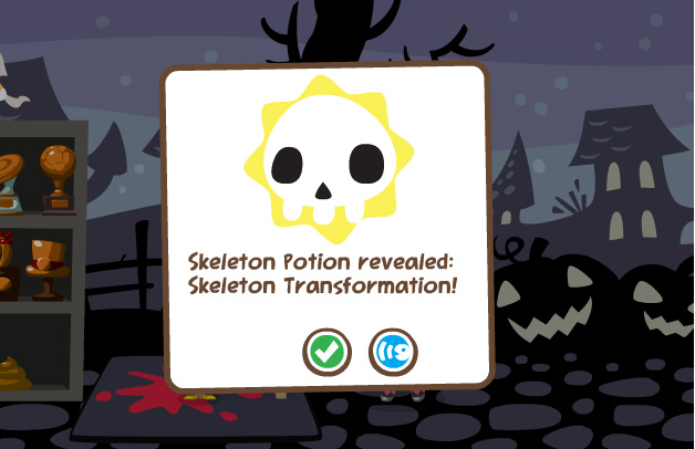 Pet Society Skeleton Potion takes effect!