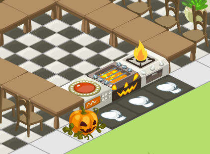 Restaurant City Halloween stove and spooky pumpkin decor