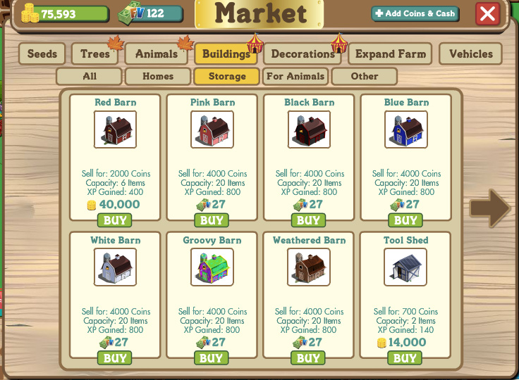 farmville storage options include barns and sheds.