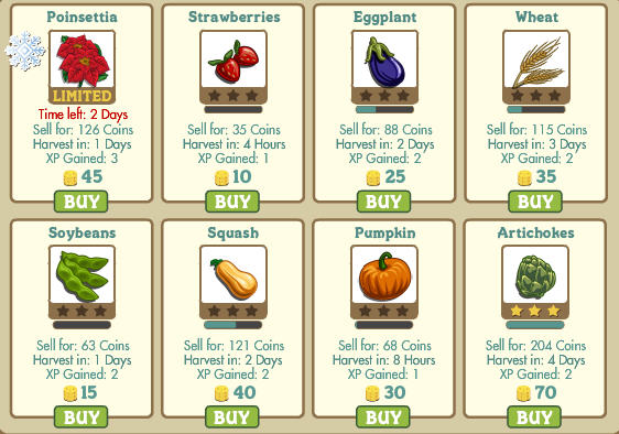 farmville crops grow at different rates