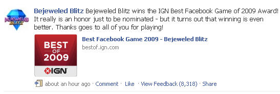 Bejeweled Blitz News Feed Update on Best of 2007 by IGN