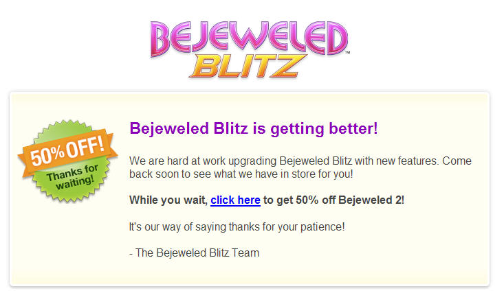 bejewled blitz is down