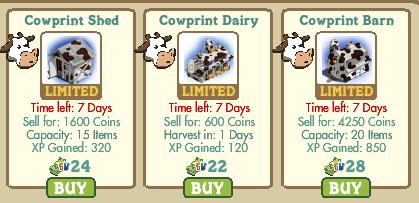farmville cowprint shed, dairy and barn