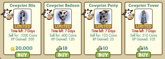 farmville cowprint silo, balloon, botty and tower