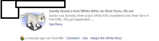 FarmVille Freak Nick's White Kitty Notice