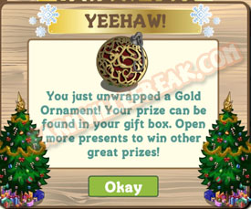 farmville gold ornament unwrapped