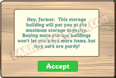 farmville maximum storage capacity set at 100