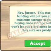 FarmVille maximum storage capacity = 100