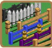 farmville unreleased white picket, barb wired, and black cross fences