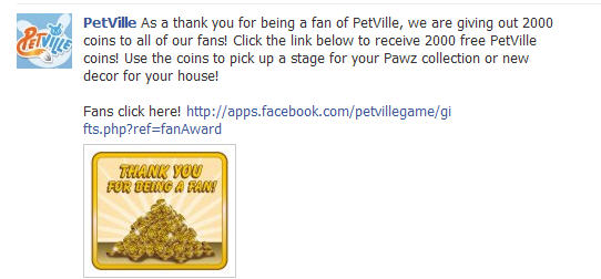 PetVille offers 2000 Free Coins to Fans