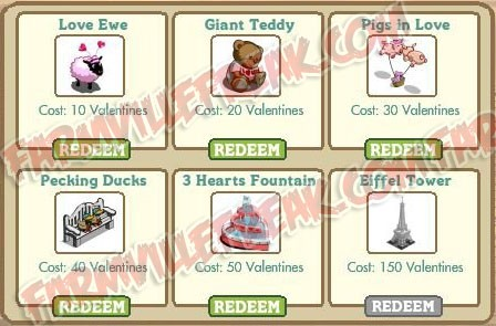 FarmVille Redeemable Valentine Gifts