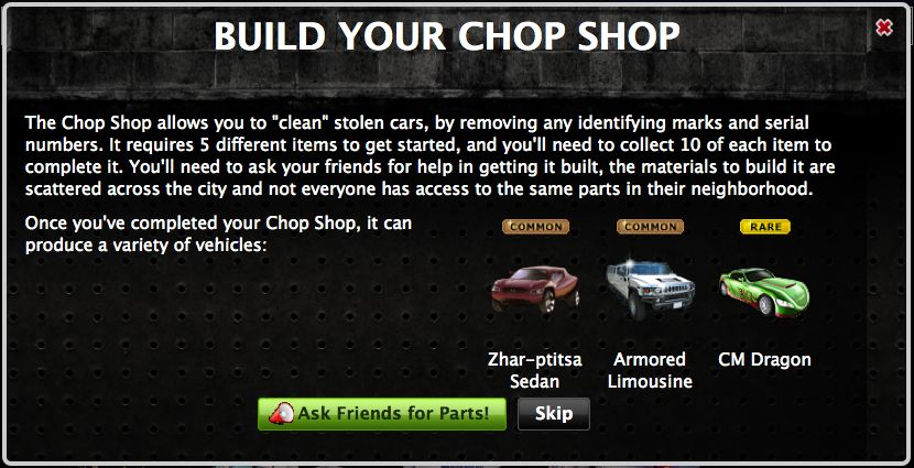 mafia wars chop shop -- build it