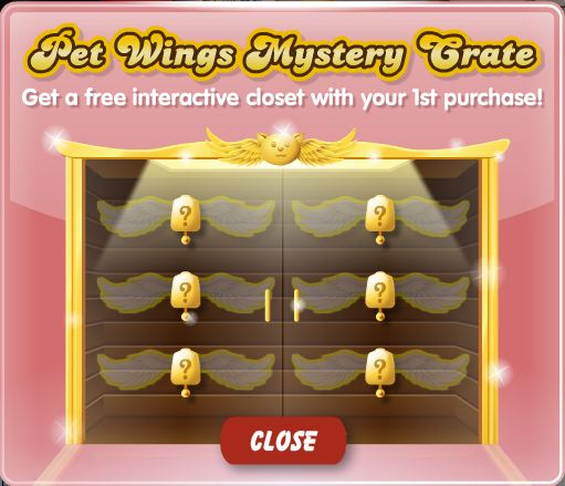 pet wings mystery crate animated closet
