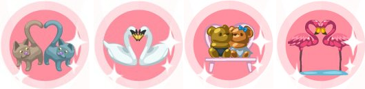 Restaurant City's Romantic Cats, Swans, Teddies, and Flamingoes items.