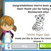 Get Your White Tiger in Restaurant City!