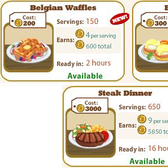 New Cafe World Dishes: Belgian Waffles, Eggs Benedict & Steak Dinner