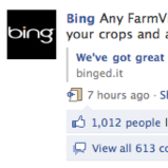Farmville ad brings Microsoft's Bing 400,000 new fans in one day