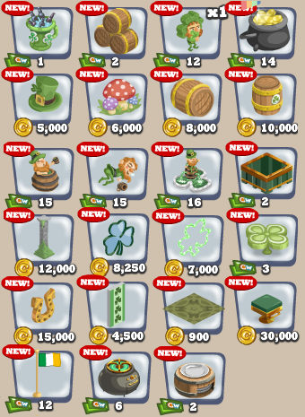 Cafe World St. Patrick's Day items