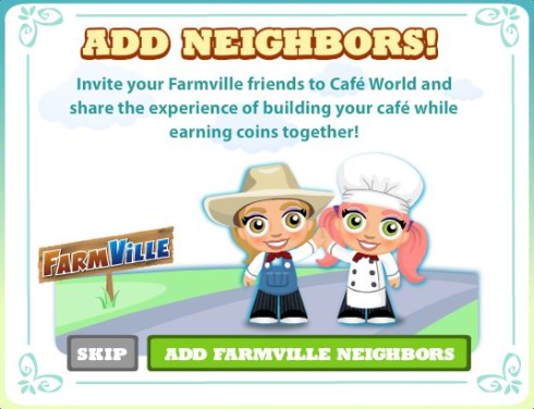 FarmVille crossing over to Cafe World
