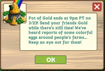 farmville colorful eggs replace the pot of gold