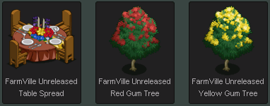 FarmVille Unreleased Table Spread and Gum Trees