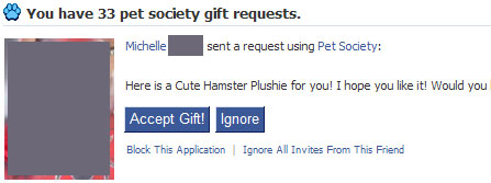 Pet Society gift request window