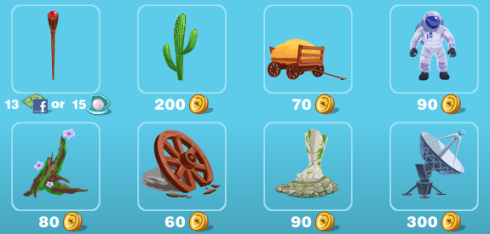 Happy Aquarium Western and Space Items at in-game store