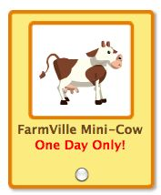 petville farmville mini cow one day only