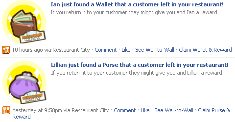 Wallet and Purse Bonuses on your wall via Restaurant City