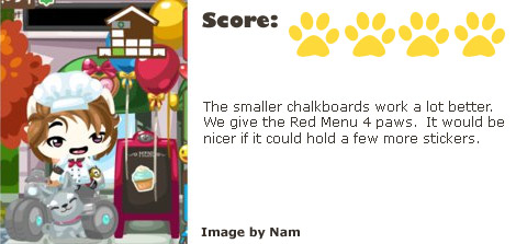 Pet Society Anonymous Menu Scorecard