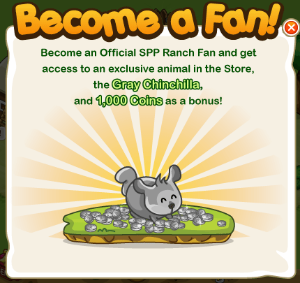 Free Gray Chincilla and 1k coins as a SPP Ranch! fan