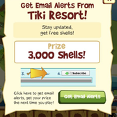 Tiki Resort gives free shell reward for your e-mail