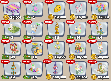 Cafe World Easter Items