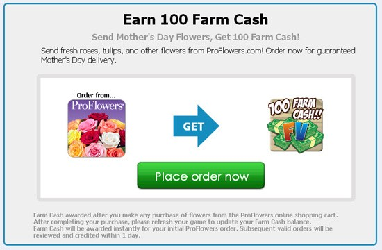 farmville pro flowers mother's day promotion