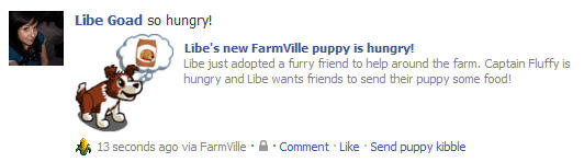 libe's new farmville puppy needs food facebook post