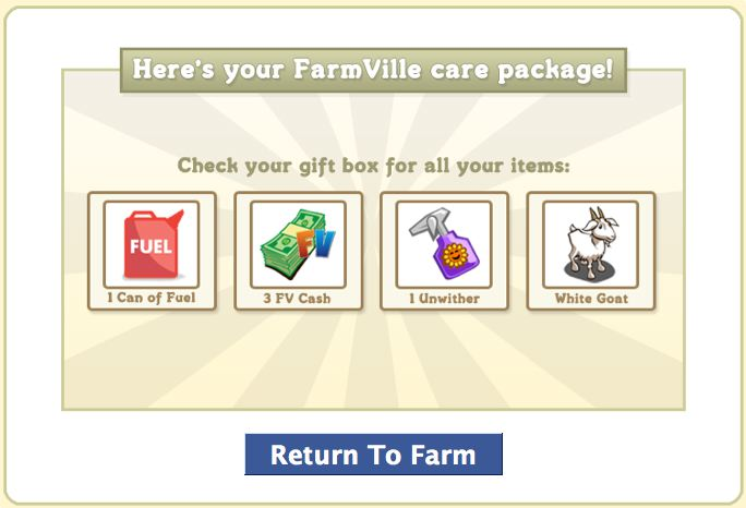 farmville care package updated with white goat