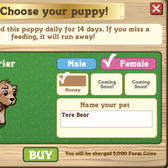 FarmVille dog profiles: Border Collies, Golden Retriever, Sheepdogs, Terriers