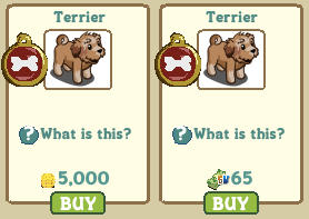 farmville terrier prices