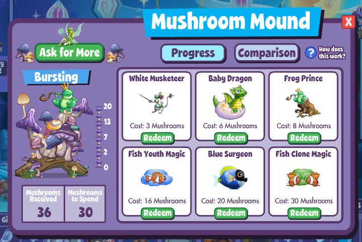 fishville mushroom mound items